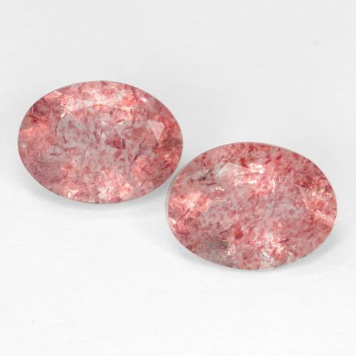 Bubblegum Pink Strawberry Quartz Gem - 1.1ct Oval Facet (ID: 545188)