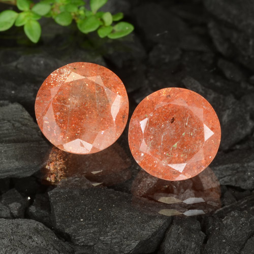 Ginger Orange Sunstone Gem - 3.3ct Round Facet (ID: 475888)