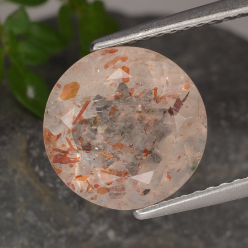 Peach Orange Sunstone Gem - 3.4ct Round Facet (ID: 476080)