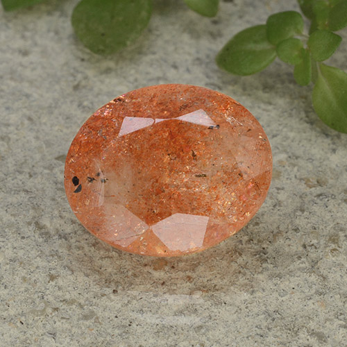 Medium Orange Sunstone Gem - 4.4ct Oval Facet (ID: 493805)