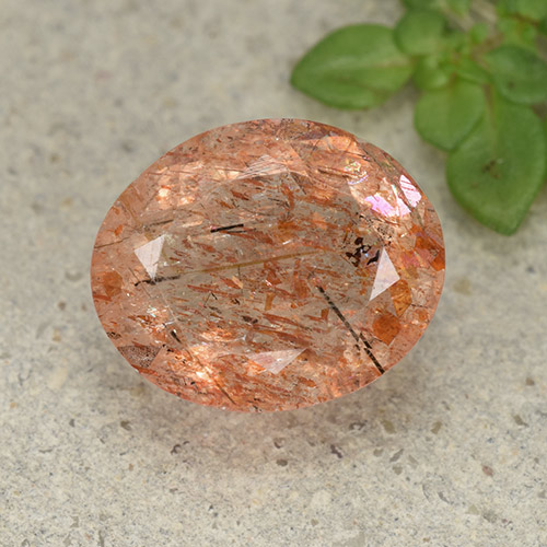 Orange Sunstone Gem - 4.6ct Oval Facet (ID: 493900)