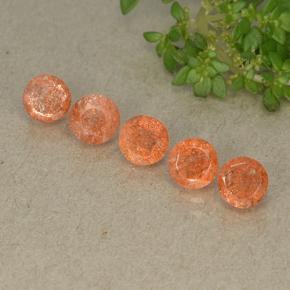Grapefruit Orange Piedra del Sol Gema - 0.6ct Faceta Redonda (ID: 494219)