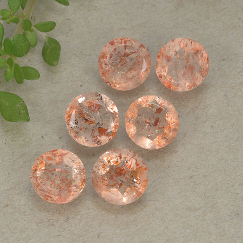Orange Sunstone Gem - 0.5ct Round Facet (ID: 497278)