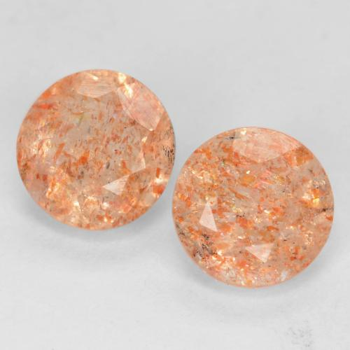 Light Orange Sunstone Gem - 0.8ct Round Facet (ID: 538778)