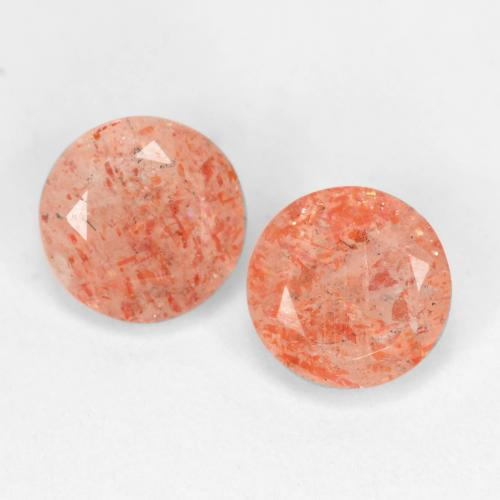 Ginger Orange Sunstone Gem - 0.8ct Round Facet (ID: 539014)