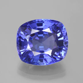 10.76 ct Cushion-Cut Violet Blue Tanzanite Gemstone 14.02 mm x 12.6 mm (Product ID: 208249)