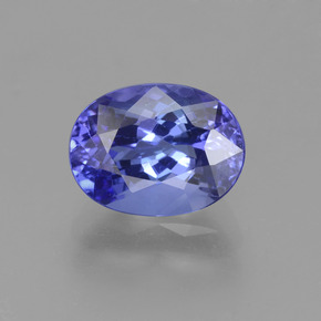 Intense Violet Blue Tanzanite Gem - 2ct Ovale sfaccettato (ID: 360691)