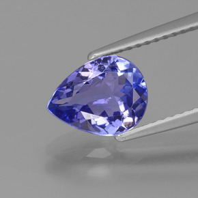 1.6ct Pear Facet Intense Violet Blue Tanzanite Gem (ID: 424708)
