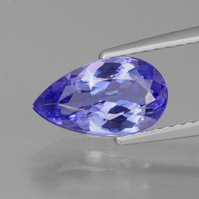 1.64 ct Pear Facet Violet Blue Tanzanite Gemstone 10.47 mm x 6 mm (Product ID: 424710)