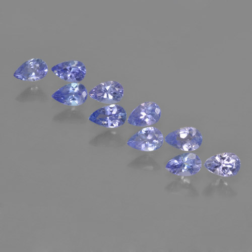 Violet Blue Tanzanite Gem - 0.2ct Pear Facet (ID: 462500)