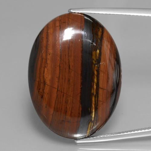 Multicolor Tiger's Eye Matrix Gem - 43.7ct Oval Cabochon (ID: 391712)