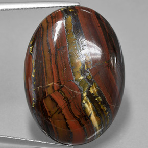 Multicolor Tiger's Eye Matrix Gem - 40ct Oval Cabochon (ID: 405776)