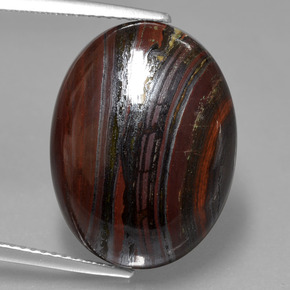 Multicolor Tiger's Eye Matrix Gem - 18.7ct Oval Cabochon (ID: 405802)