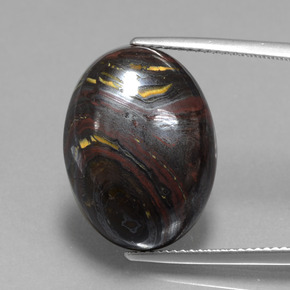 Multicolor Tiger's Eye Matrix Gem - 22.2ct Oval Cabochon (ID: 405932)