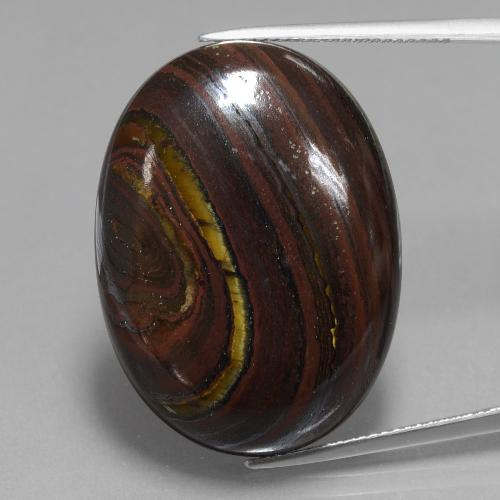 Multicolor Tiger's Eye Matrix Gem - 46ct Oval Cabochon (ID: 405939)