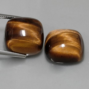 Buy 27.54ct Gold Brown Tiger's Eye 15.14mm x 15.13mm from GemSelect (Product ID: 323247)