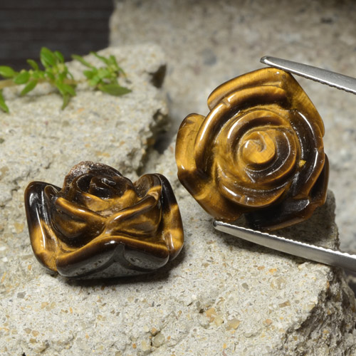 Gold Brown Tiger's Eye Gem - 12.5ct Carved Rose with Half Drilled Hole (ID: 323295)