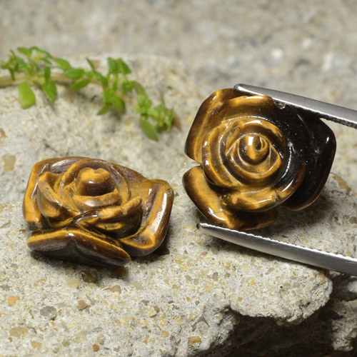10.1ct Carved Rose with Half Drilled Hole Gold Brown Tiger's Eye Gem (ID: 323299)