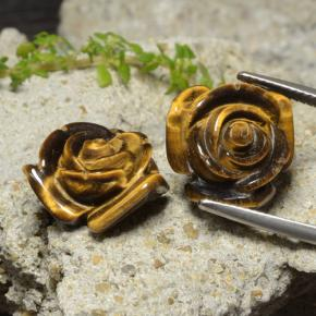 Warm Brown Tiger's Eye Gem - 12.1ct Carved Rose with Half Drilled Hole (ID: 323300)