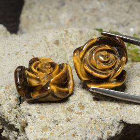 Gold Brown Tiger's Eye Gem - 12.6ct Carved Rose with Half Drilled Hole (ID: 323302)