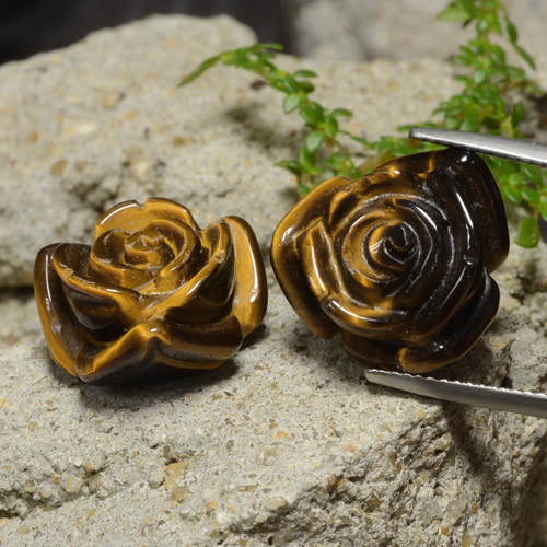 Medium Brown Tiger's Eye Gem - 12.4ct Carved Rose with Half Drilled Hole (ID: 323449)