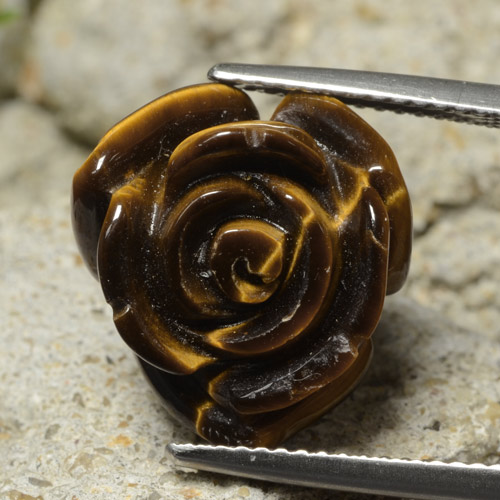 Gold Brown Tiger's Eye Gem - 11.1ct Carved Rose with Half Drilled Hole (ID: 323468)