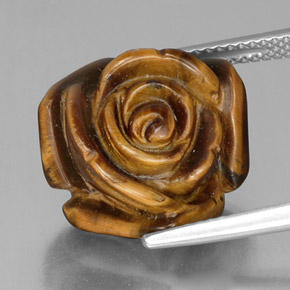 12.5ct Carved Rose with Half Drilled Hole Gold Brown Tiger's Eye Gem (ID: 334312)