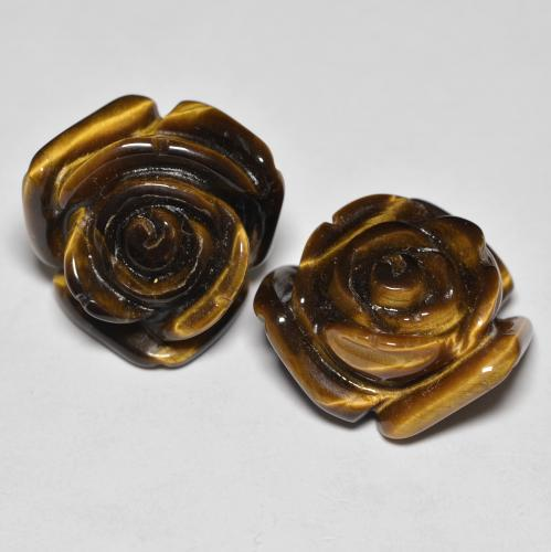Gold Brown Tiger's Eye Gem - 12.8ct Carved Rose with Half Drilled Hole (ID: 343455)