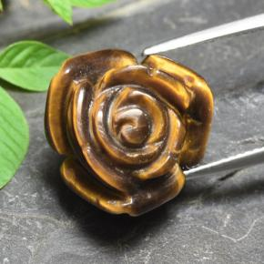 Gold Brown Tiger's Eye Gem - 11.9ct Carved Rose with Half Drilled Hole (ID: 343463)
