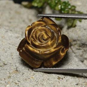 11.4ct Carved Rose with Half Drilled Hole Gold Brown Tiger's Eye Gem (ID: 343481)