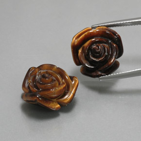 Gold Brown Tiger's Eye Gem - 12.8ct Carved Rose with Half Drilled Hole (ID: 370591)