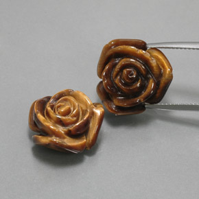 11.3ct Carved Rose with Half Drilled Hole Gold Brown Tiger's Eye Gem (ID: 370594)