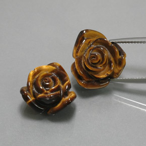 Gold Brown Tiger's Eye Gem - 11.7ct Carved Rose with Half Drilled Hole (ID: 370598)