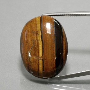 Gold Brown Tiger's Eye Gem - 42.1ct Oval Cabochon (ID: 377130)