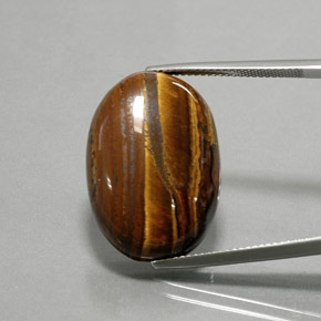 thumb image of 27.2ct Oval Cabochon Gold Brown Tiger's Eye (ID: 377131)
