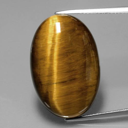 Warm Brown Tiger's Eye Gem - 20.3ct Oval Cabochon (ID: 390171)