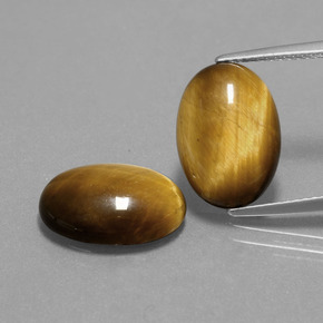 Gold Brown Tiger's Eye Gem - 4.6ct Oval Cabochon (ID: 390509)