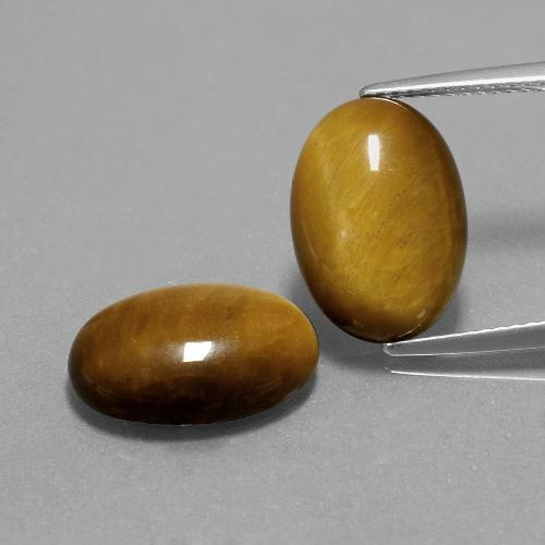 Gold Brown Tiger's Eye Gem - 4.5ct Oval Cabochon (ID: 390510)