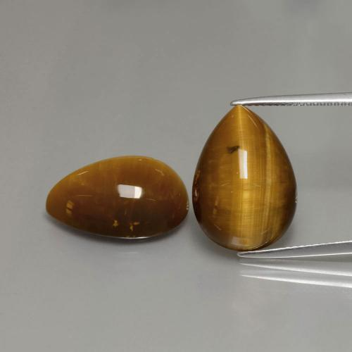 Medium Brown Tiger's Eye Gem - 11.3ct Pear Cabochon (ID: 390598)