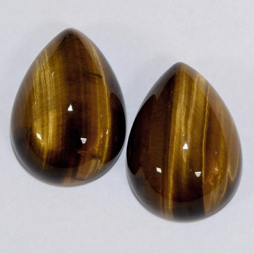 Golden Brown Tiger's Eye Gem - 11.4ct Pear Cabochon (ID: 390601)