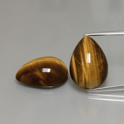 Warm Brown Tiger's Eye Gem - 11.4ct Pear Cabochon (ID: 390605)
