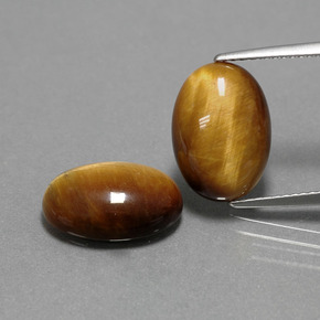 Medium Brown Ojo de Tigre Gema - 4.5ct Cabujón Óvalo (ID: 390898)