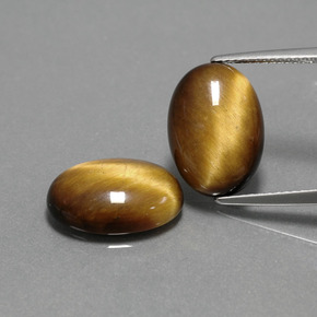 Gold Brown Tiger's Eye Gem - 4.4ct Oval Cabochon (ID: 390901)