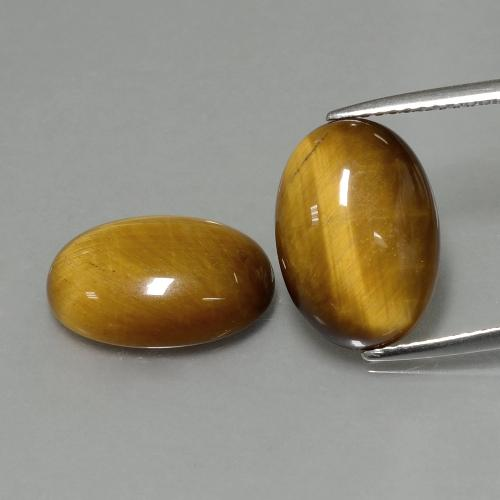 Medium Brown Occhio di tigre Gem - 4.6ct Ovale cabochon (ID: 396405)