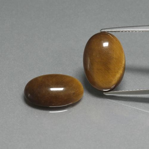 Golden Brown Tiger's Eye Gem - 4.6ct Oval Cabochon (ID: 396884)