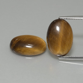 4.4ct Oval Cabochon Gold Brown Tiger's Eye Gem (ID: 396979)
