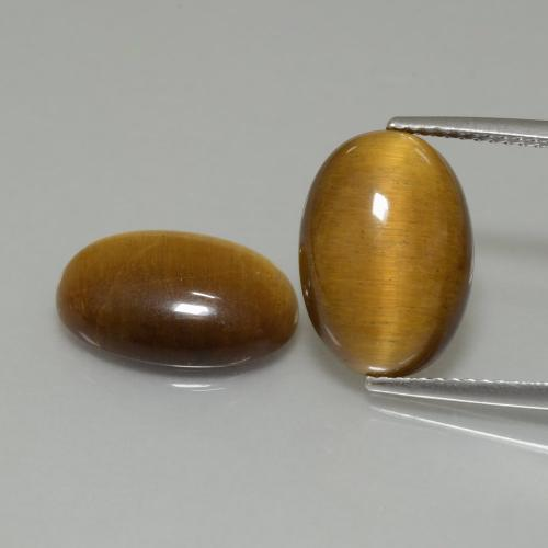 Gold Brown Tiger's Eye Gem - 4.6ct Oval Cabochon (ID: 396982)