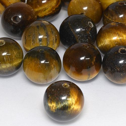 Multicolor Tiger's Eye Gem - 12.5ct Drilled Sphere (ID: 526454)
