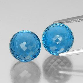 7.58 ct Spherical Medium Blue  Topaz Gemstone 9.31 mm  (Product ID: 337561)