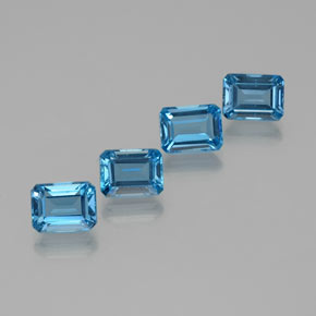 2.16 ct Octagon Facet Swiss Blue Topaz Gemstone 8.13 mm x 6.1 mm (Product ID: 372372)